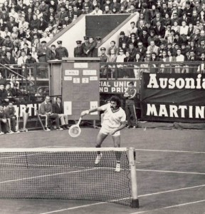 Ion Tiriac competes in the 1972 Davis Cup Final in Bucharest, Romania.